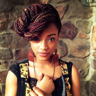 Nigerian mulit-colored braids. Love this! Duafe earrings... nice.
