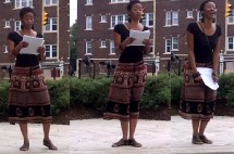 Performing a poem inspired by the struggles and being a teacher for the teachers at Harvey Rice Elementary School's fire burning Open House: August 2014