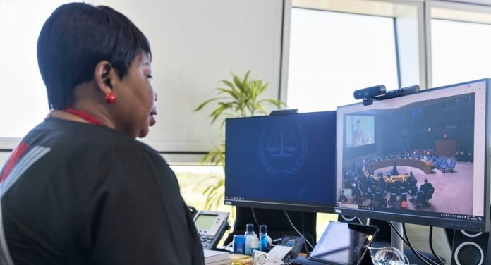 ICC Prosecutor Fatou Bensouda presents her Office's 33rd report on the Situation in Darfur, Sudan to the UN Security Council remotely through