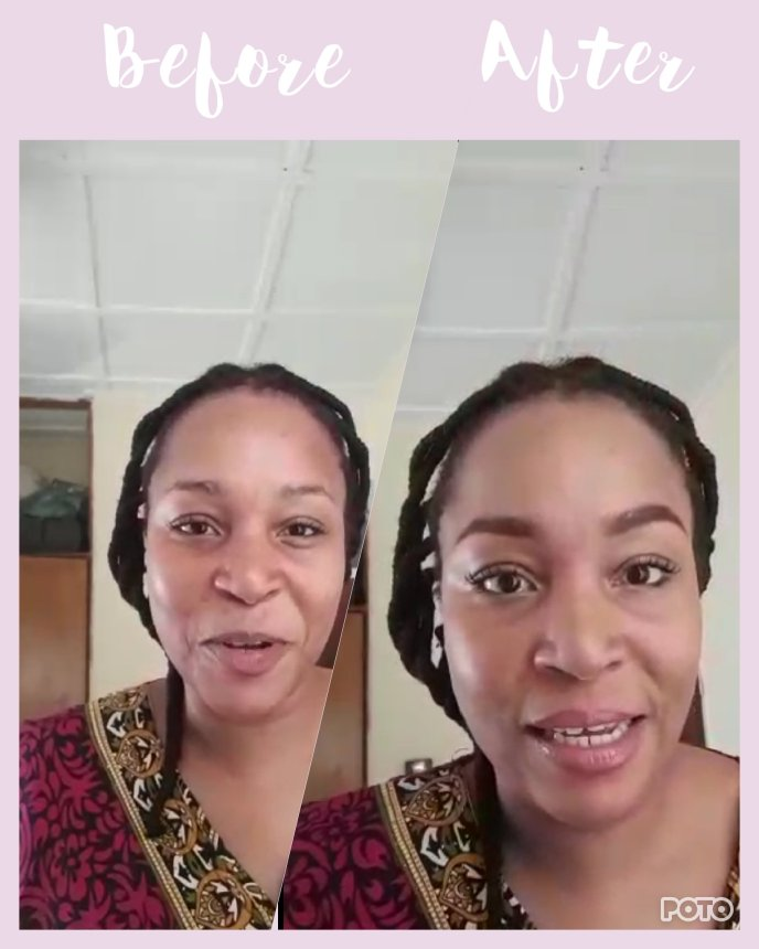 Africanfinestmums - Before and after of a simple 5 minute on the go makeup