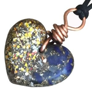 Orgonite Small Heart Pendant Necklace containing Lapis Lazuli and Gold Glitter.
