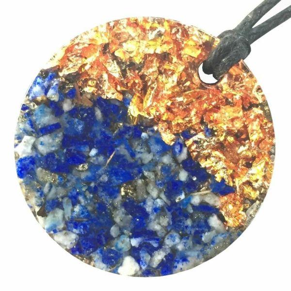 Orgonite Mini Round Pendant Necklace containing Lapis Lazuli and Copper Starburst Leaf