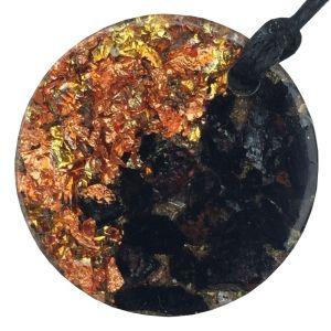 Orgonite Mini Round Pendant Necklace containing Black Tourmaline and Copper Starburst Leaf