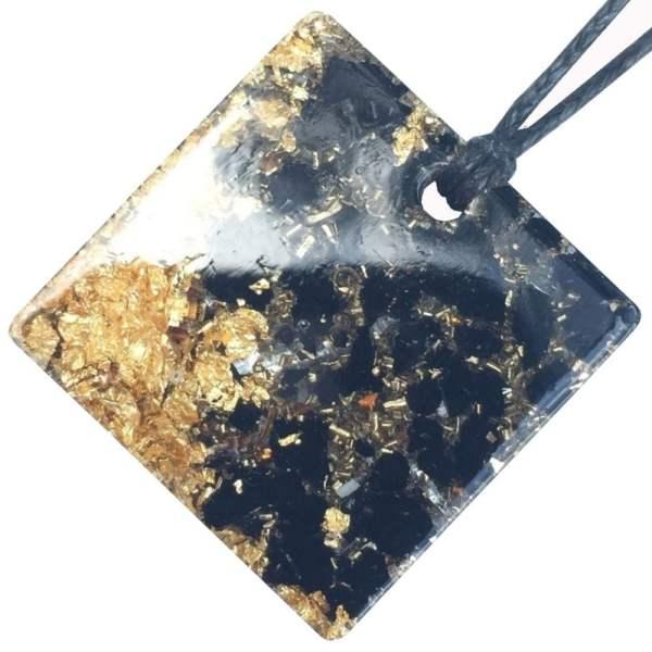 Orgonite Mini Square Pendant Necklace containing Black Tourmaline and Imitation Gold Leaf