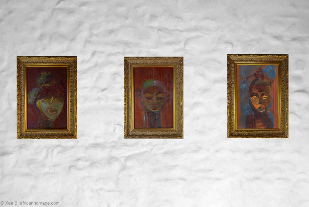 African Symbolic Portraits - painting by Xea B. - Ambete, Yaka, Hemba, framed, on a wall.