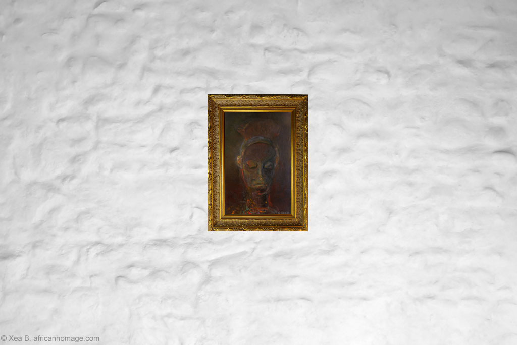 African Symbolic Portrait, Bayaka, painting, framed, on a wall, Xea B.