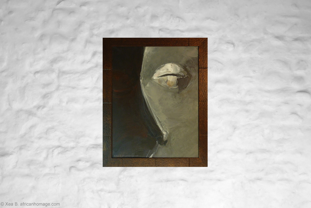 Painting, African mask, Pende, framed, on a wall, African symbolic portrait, African Homage, Xea B.