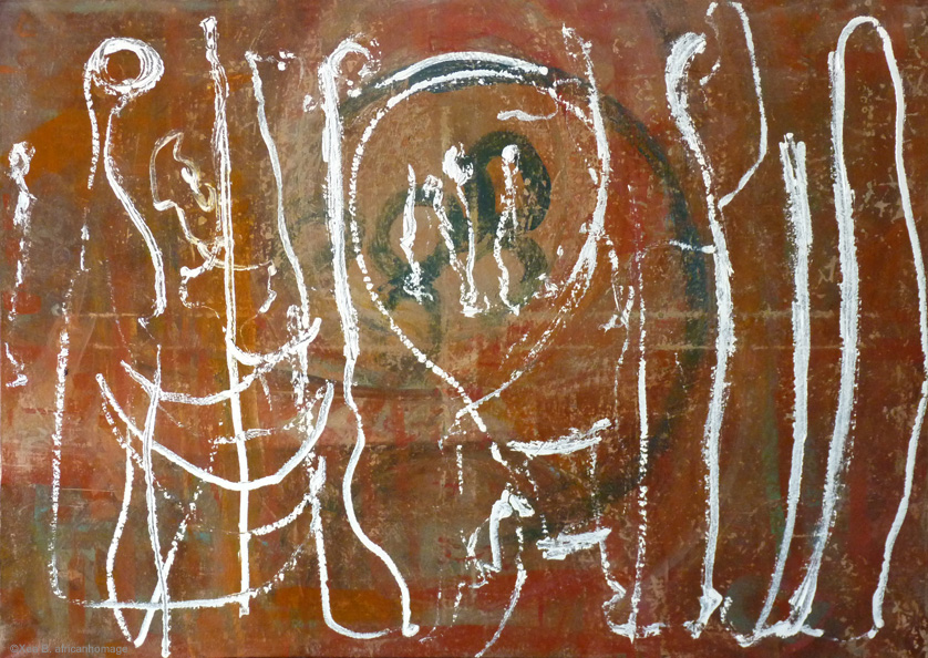 Painting, oil on canvas, Wispers of the invisible, Xea B. ,African Homage, Contemporary Art