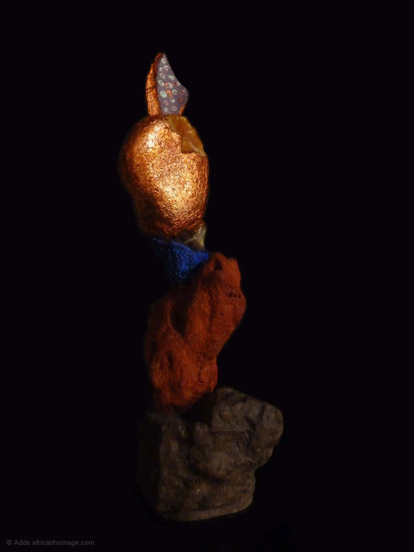 Painted Sculpture sculptor Addé African Homage