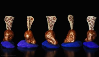 Runes, sculpture, Addé, polychromy, africanhomage