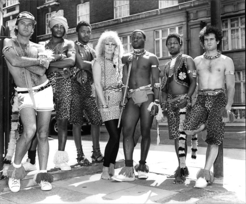 Pop Group Juluka. L-r: Gary Van Zyl Scorpion Madondo Zola Mtiya Glenda Millar Dudu Zulu Sipho Mchunu Johnny Clegg. Box 685 1018051616 A.jpg.