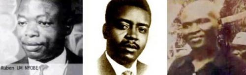 Les leaders de l'UPC: Ruben Um Nyobe, Felix Moumie, et Ernest Ouandie