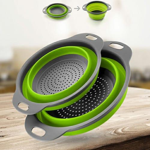 (2 Pcs) Collapsible Filter Kitchen Basket.