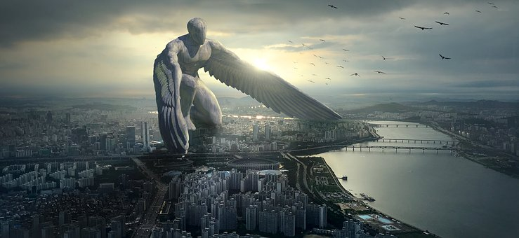Fantasy statue: A Guardian angel works hard to protect a whole city