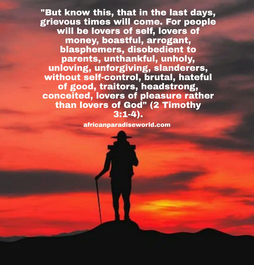 Last days are dangerous Bible verse from 2 Timothy 3:1-4