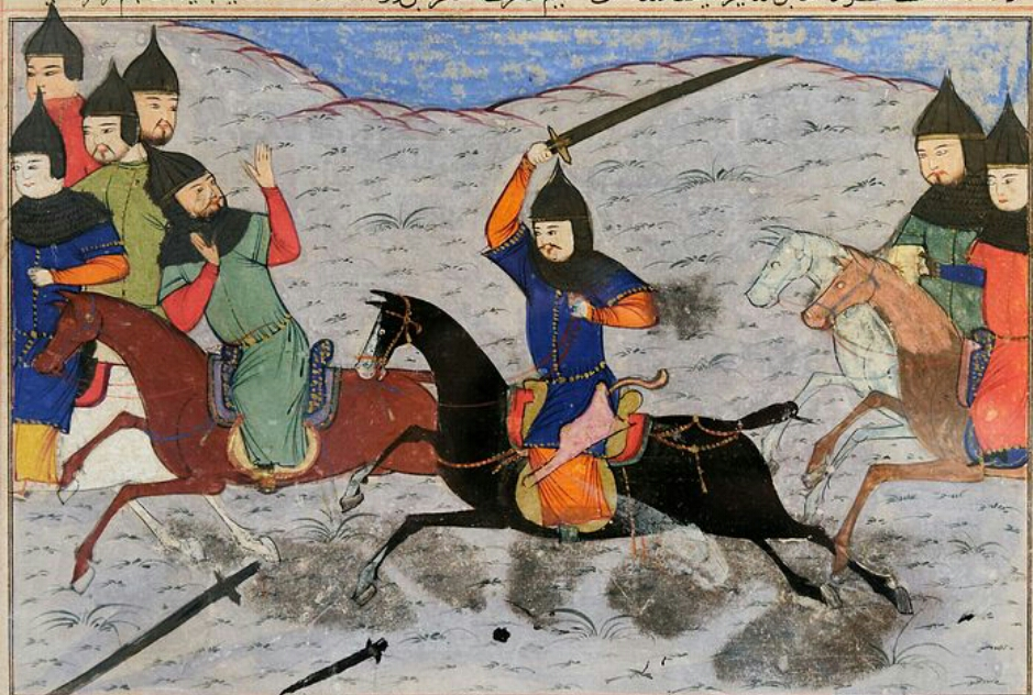 Horse riders chasing enemies with swords