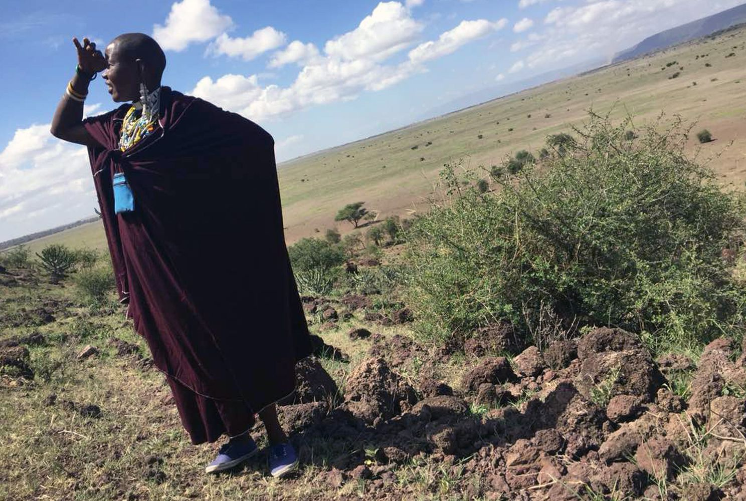 Maasai woman looks over the Tanzanian landscape