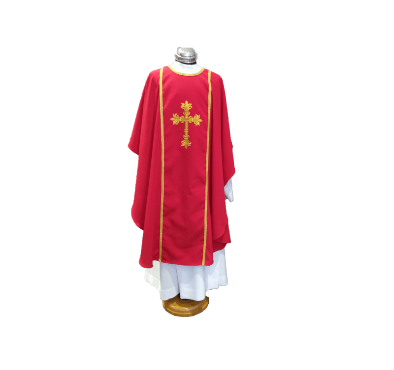 Chasuble & Stole Decorative Cross Red