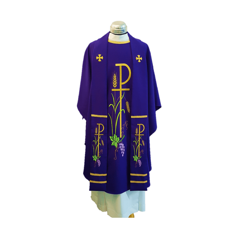 Chasuble & Stole Chi Rho Purple