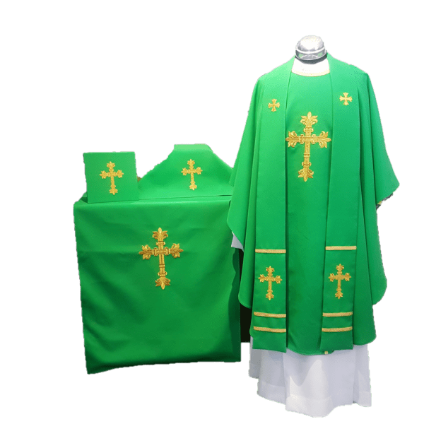 Altar Vestment Set: Chasuble & Stole, Burse & Veil, Altar Strip