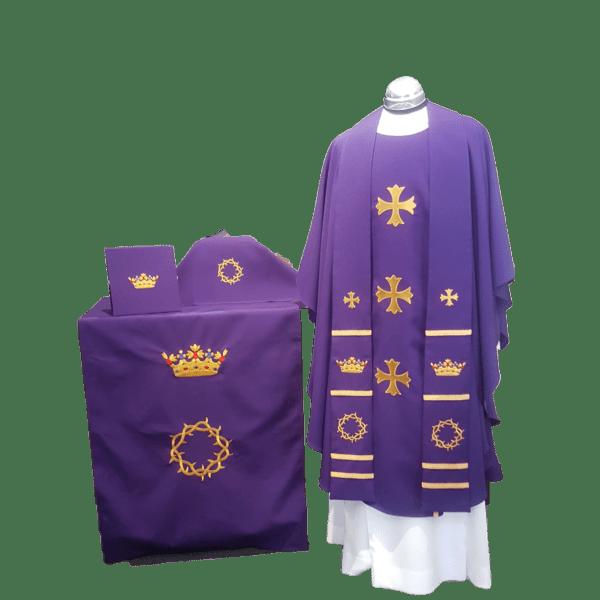 Altar Vestment Set: Chasuble & Stole, Burse & Veil, Altar Strip