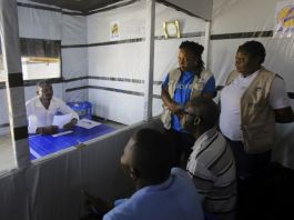 Claude Mabowa at Ebola treatment centre