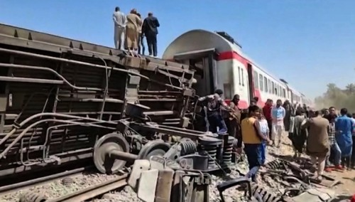 Train crash in Central Egypt leaves at least 32 dead