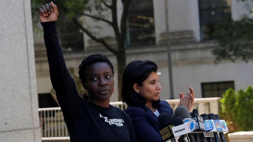 Patricia Okoumou after leaving federal court from her arraignment July 5, 2018