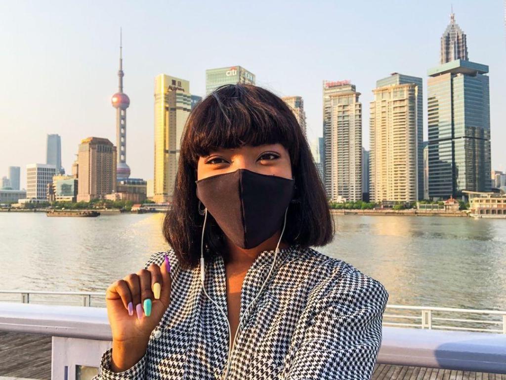 Khanya Gundwana wearing face mask in China