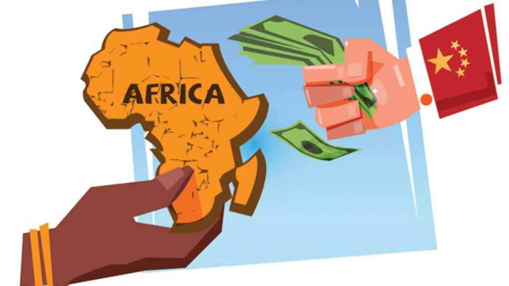 Hand holding Africa and hand holding money