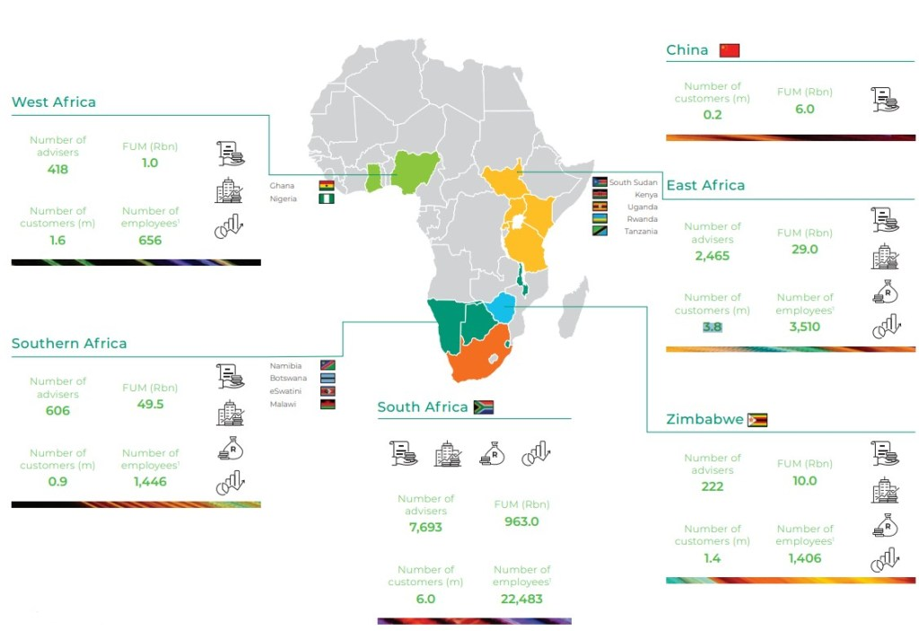map of old mutual annual report in africa