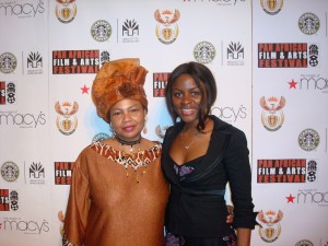 Designer Dearra poses with African Vibes Magazine's Amabel Niba