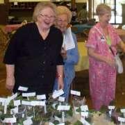 Three club members laughing as they buy plants