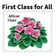 Cover for First Class for All with image of African violet postage stamp