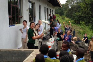 Volunteers painting some new classrooms in 2013