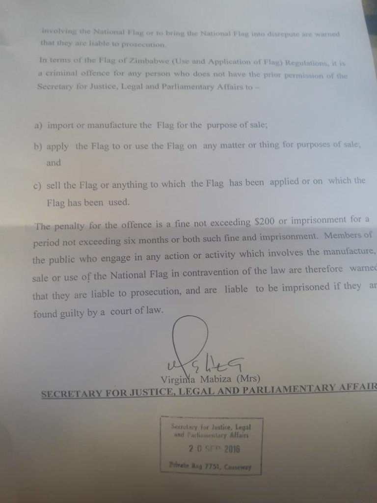 Government warning on the use of the flag by Thelma Chikwanha