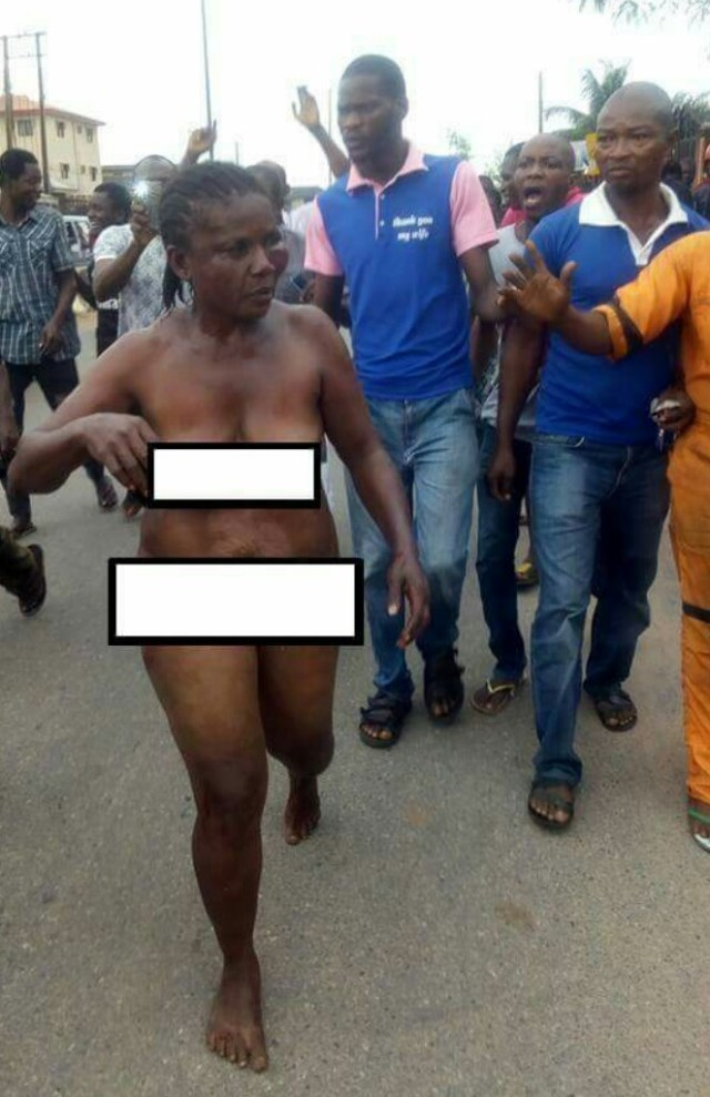Female Kidnapper Caught, Paraded Naked (PHOTOS)
