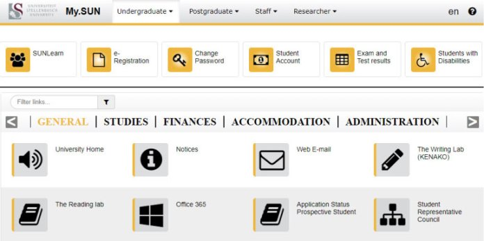 mysun menu student portal
