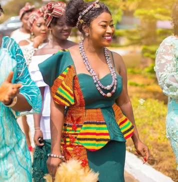African dress, Kente wedding dress with beads