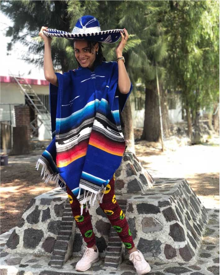 Sonia Ibrahim in African print and mexico fashion dress