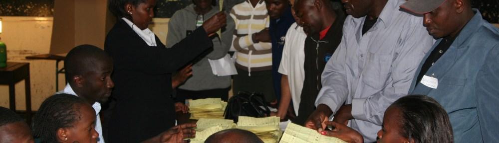Kenya Nairobi 2007 election counting ballots at Westlands Primary School