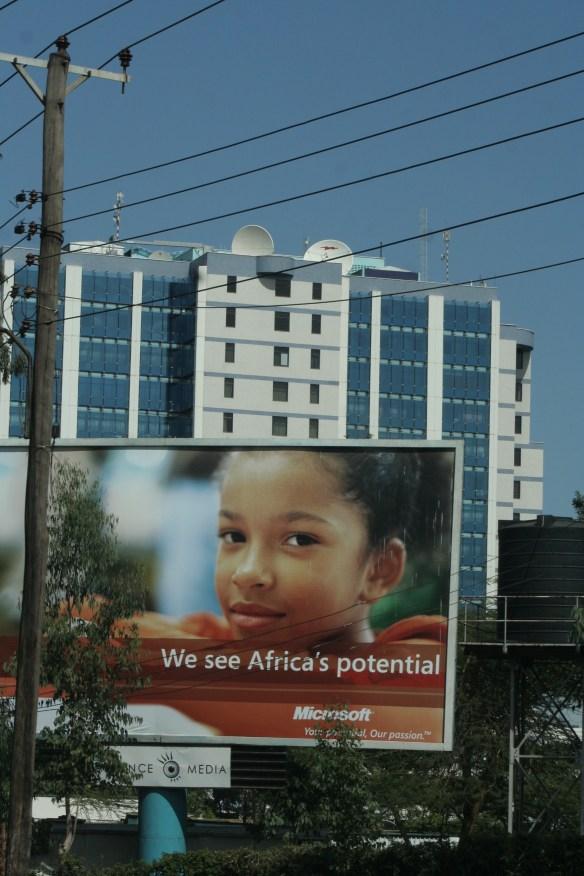 "Nairobi Kenya Microsoft billboard ""We see Africa's potential"""