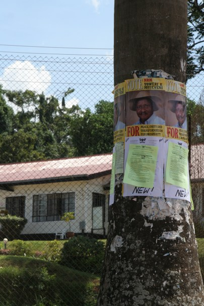 Uganda campaign flyer on tree says vote NRM Yoweri Museveni for peace, unity and transformation for prosperity