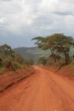Western Uganda red dirt road and travellers