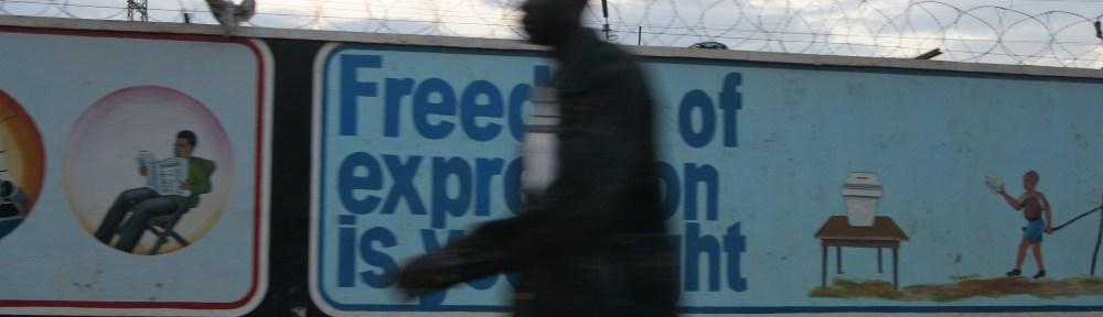 "Kampala Uganda billboard ""Freedom of Expression is Your Right"""
