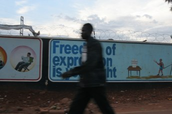 "Kampala Uganda billboard ""Freedom of Expression is Your Right"""