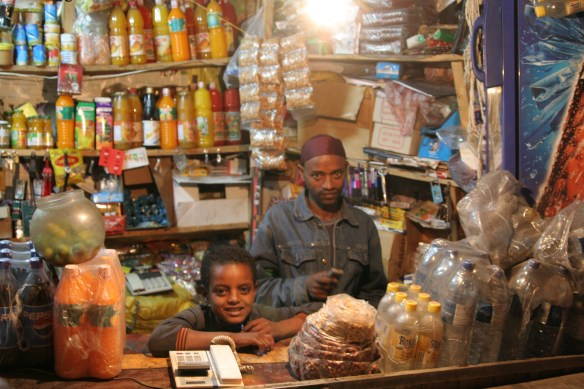 Addis Ababa Ethiopia shopkeeper and daughter