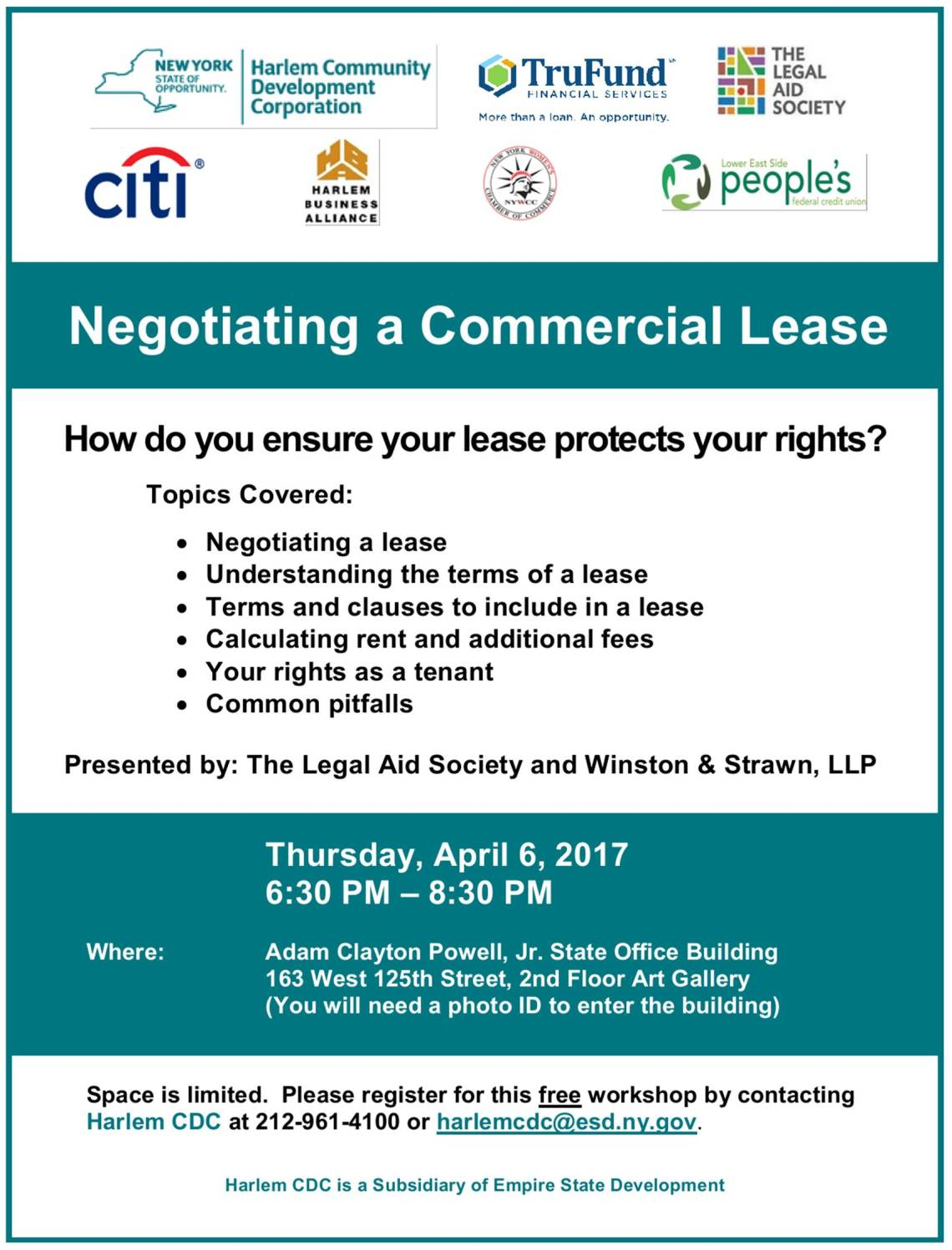 Negotiating a Commercial Lease Harlem Community Development Corporation