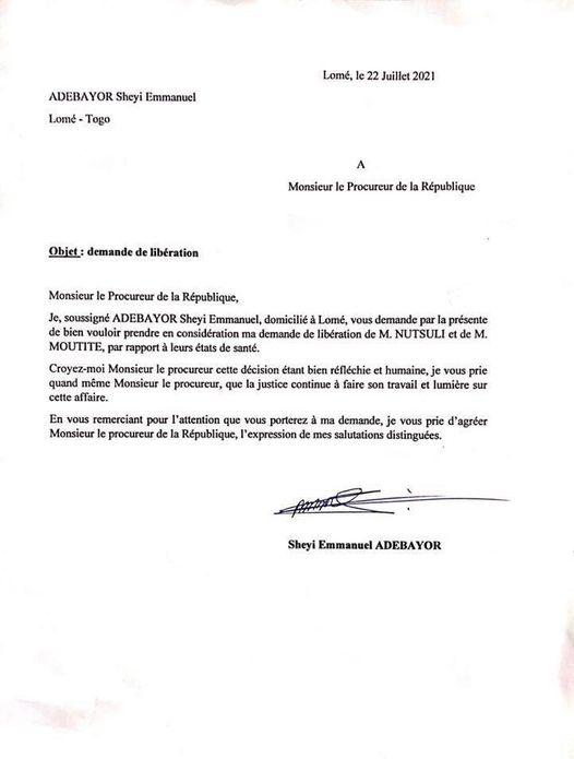 Adebayor Gogoligo libération