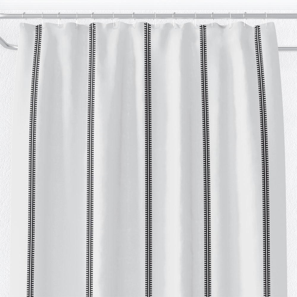 classy black white shower curtain inspired by mud cloth linear motifs